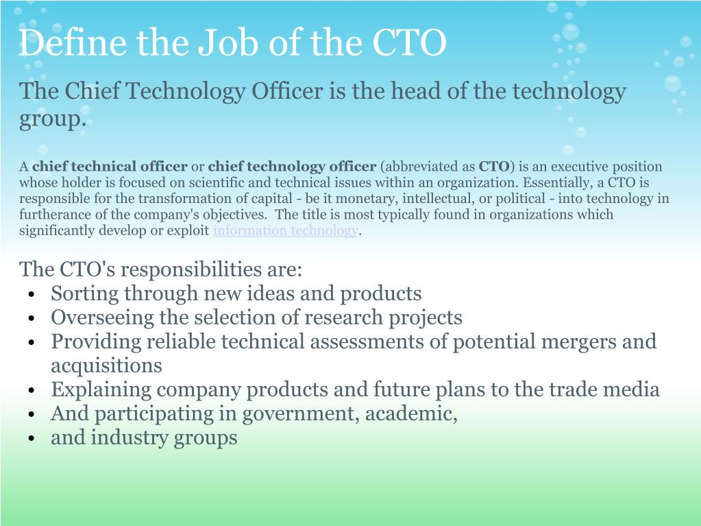 Define the Job of the CTO