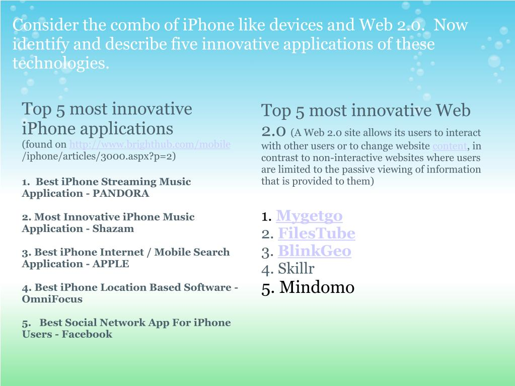 Consider the combo of iPhone like devices and Web 2.0.  Now identify and describe five innovative applications of these technologies.