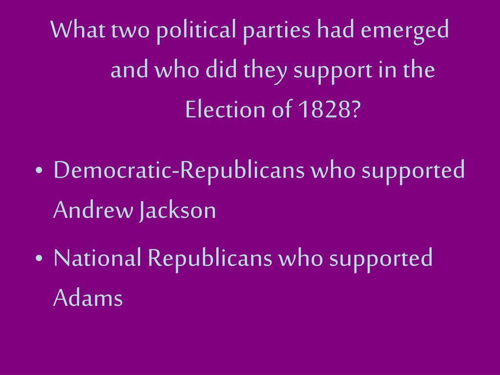 What two political parties had emerged and who did they support in the Election of 1828?