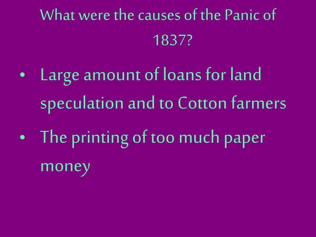 What were the causes of the Panic of 1837?