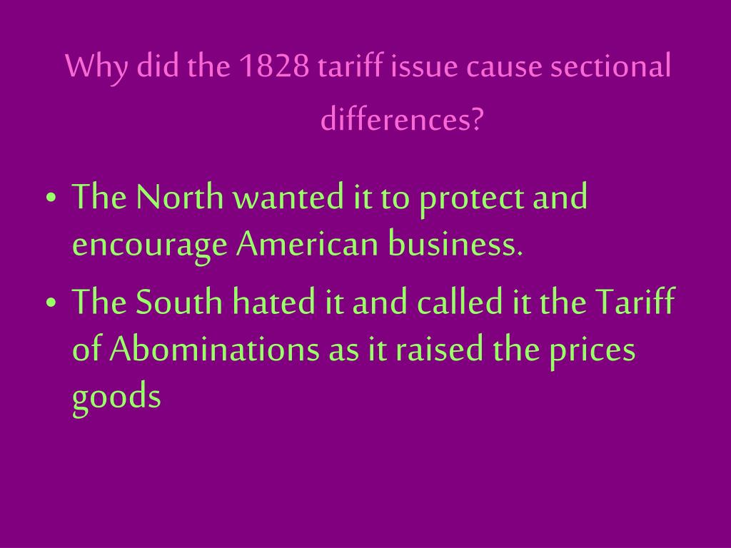 Why did the 1828 tariff issue cause sectional differences?