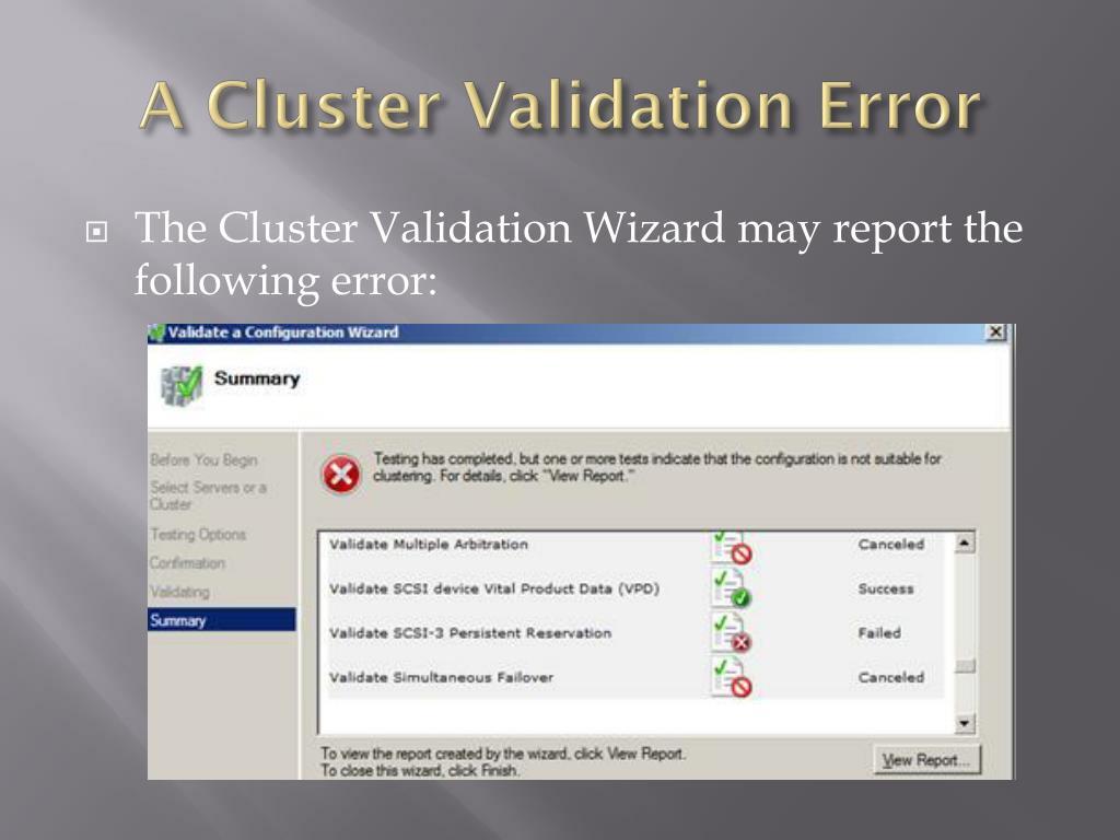 A Cluster Validation Error