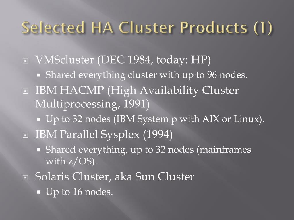 Selected HA Cluster Products (1)