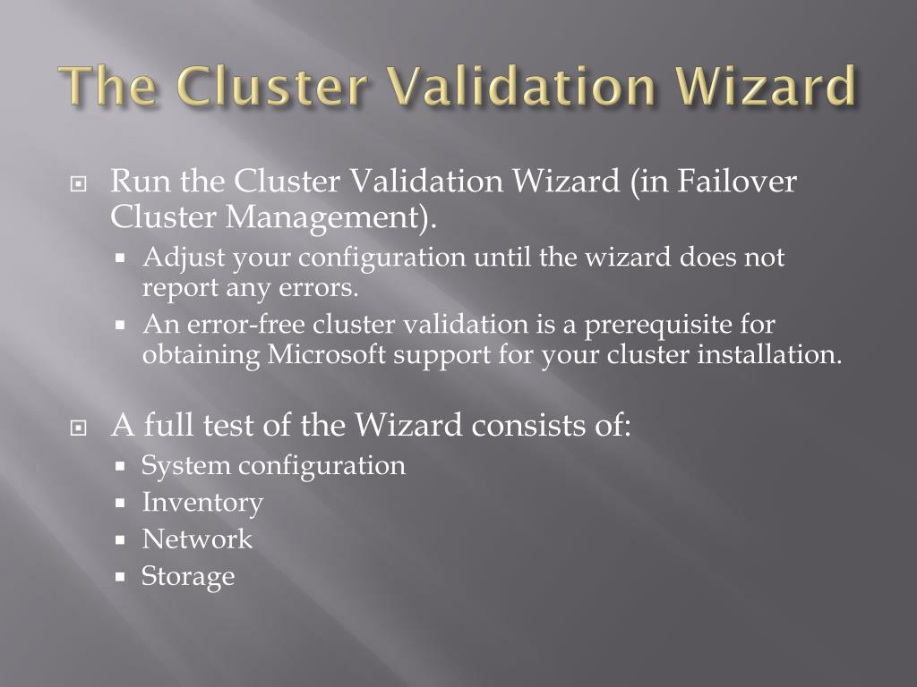 The Cluster Validation Wizard