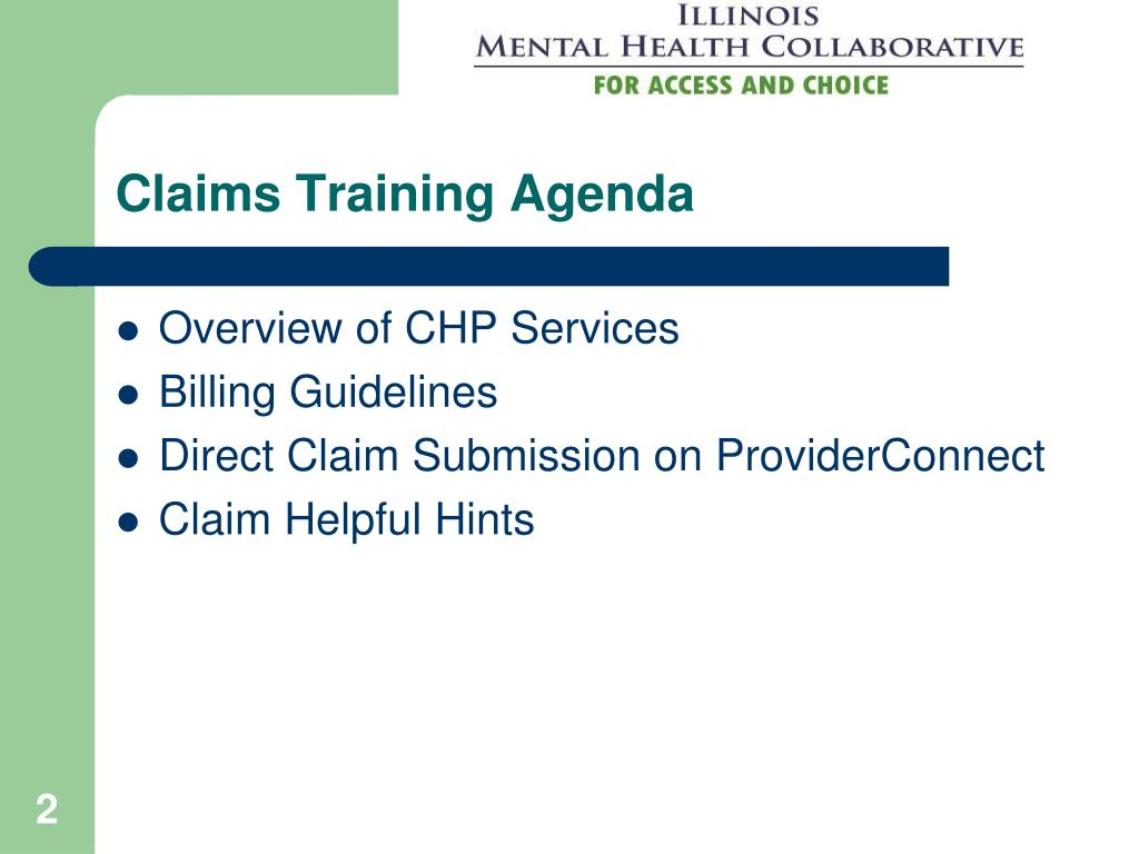 Claims Training Agenda