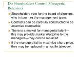 do shareholders control managerial behavior