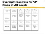 oversight controls for a risks at all levels