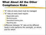 what about all the other compliance risks