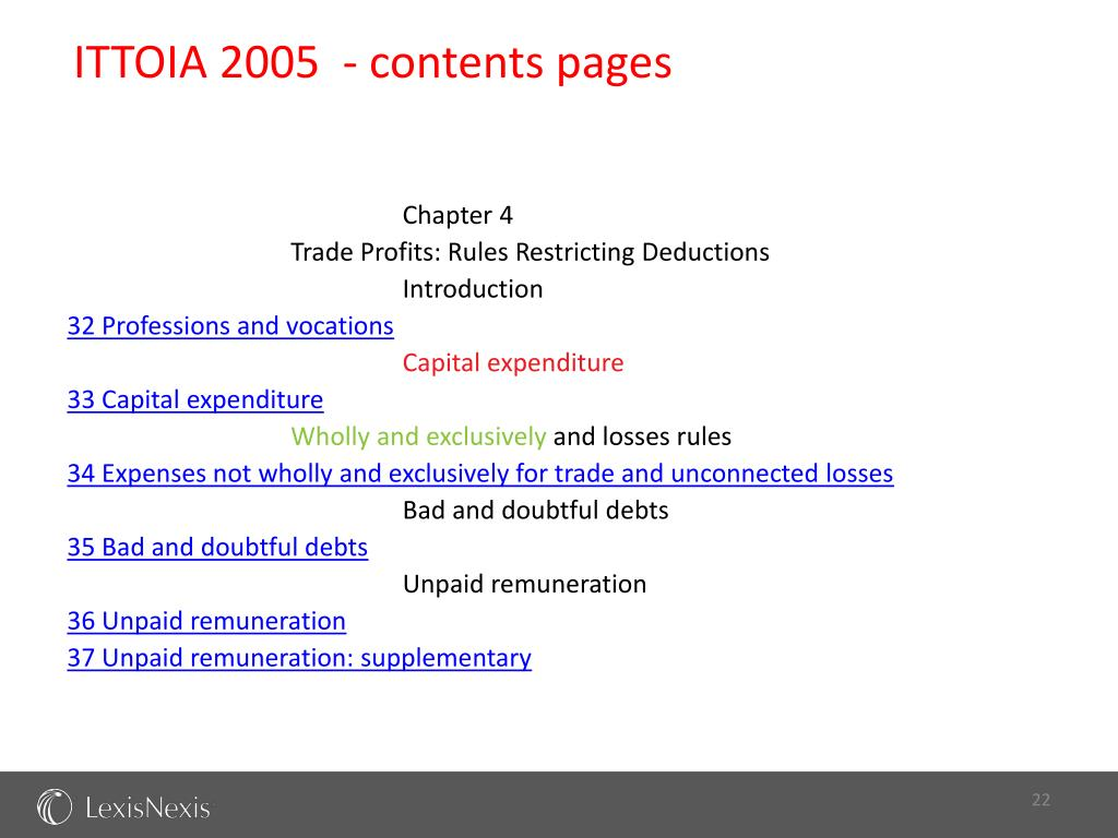 ITTOIA 2005  - contents pages