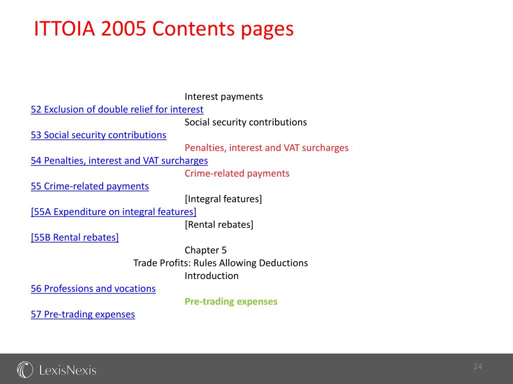 ITTOIA 2005 Contents pages