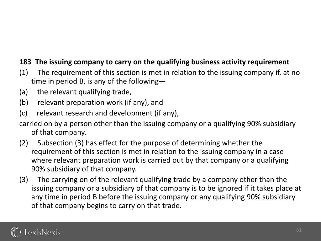 183  The issuing company to carry on the qualifying business activity requirement