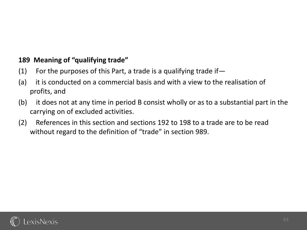 "189  Meaning of ""qualifying trade"""