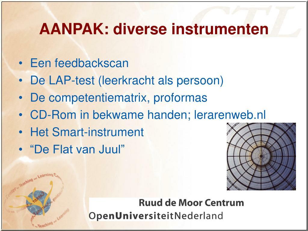 AANPAK: diverse instrumenten