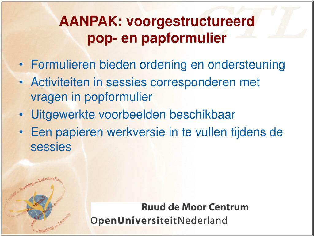 AANPAK: voorgestructureerd
