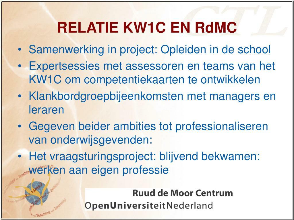 RELATIE KW1C EN RdMC