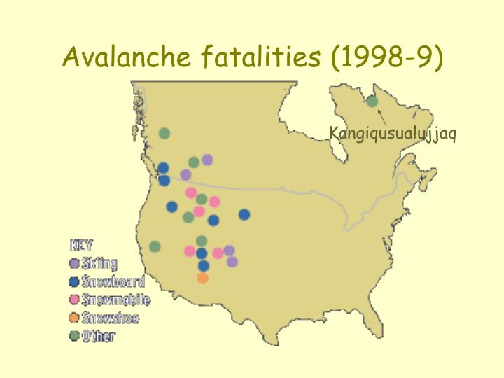 Avalanche fatalities 1998 9