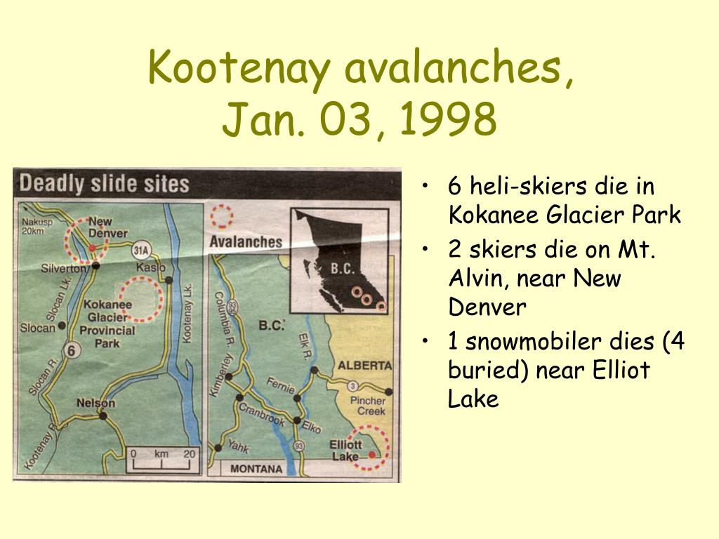 Kootenay avalanches,