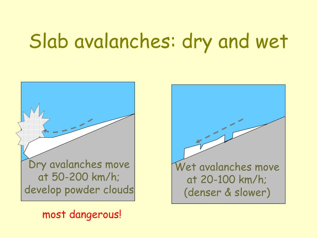 Slab avalanches: dry and wet