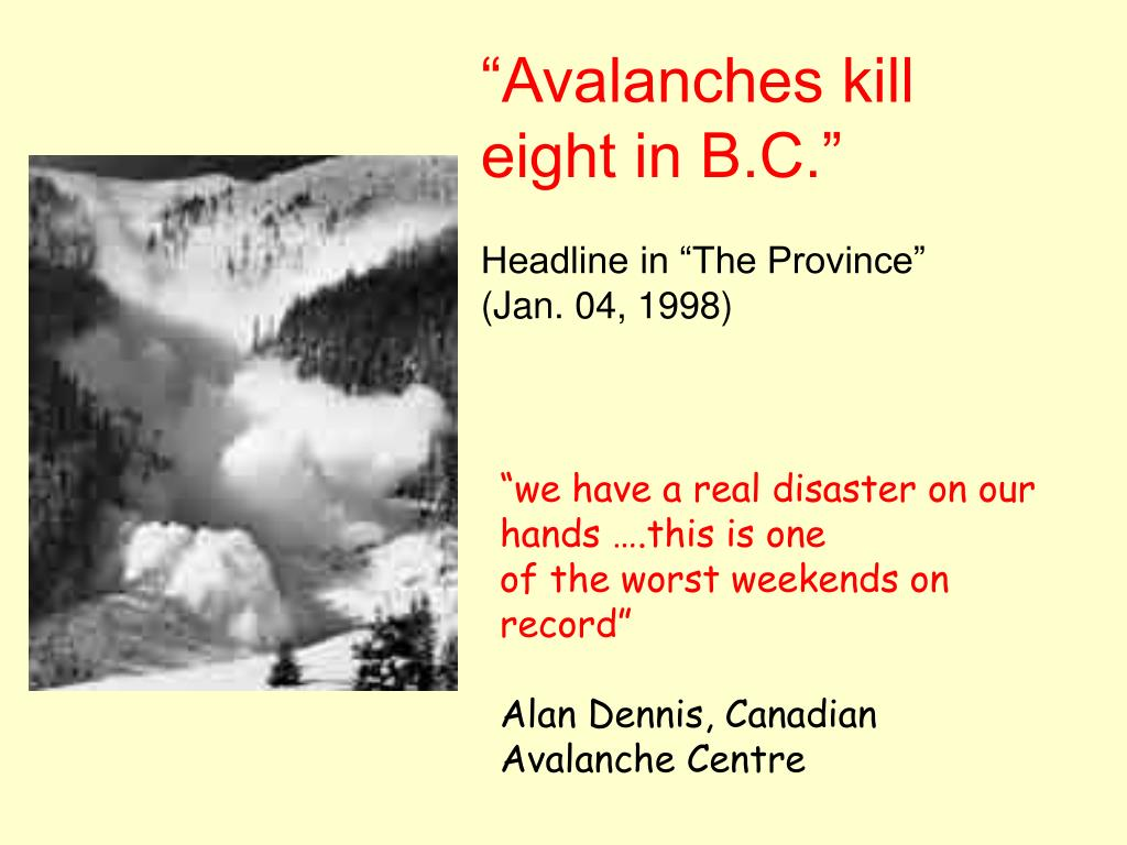 """Avalanches kill eight in B.C."""