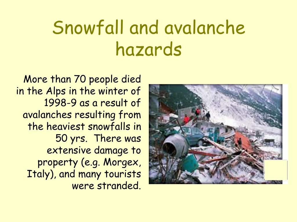Snowfall and avalanche hazards