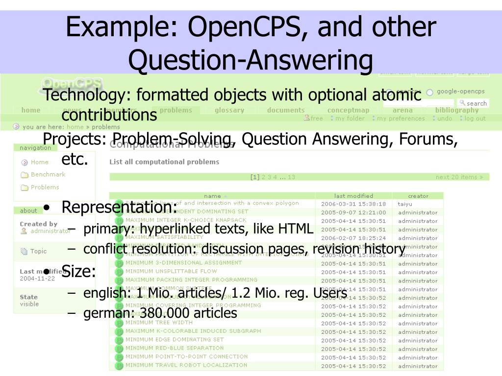 Example: OpenCPS, and other Question-Answering