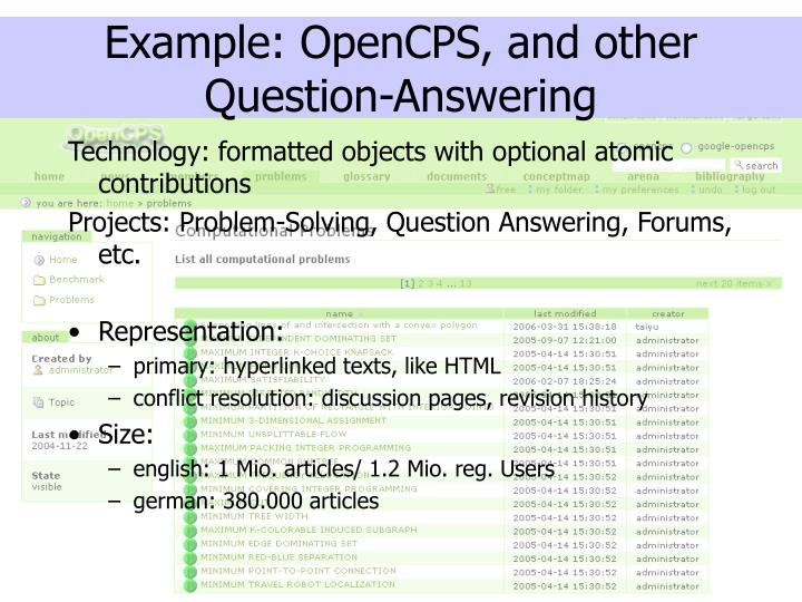 Example opencps and other question answering