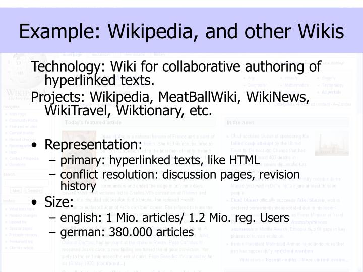 Example wikipedia and other wikis