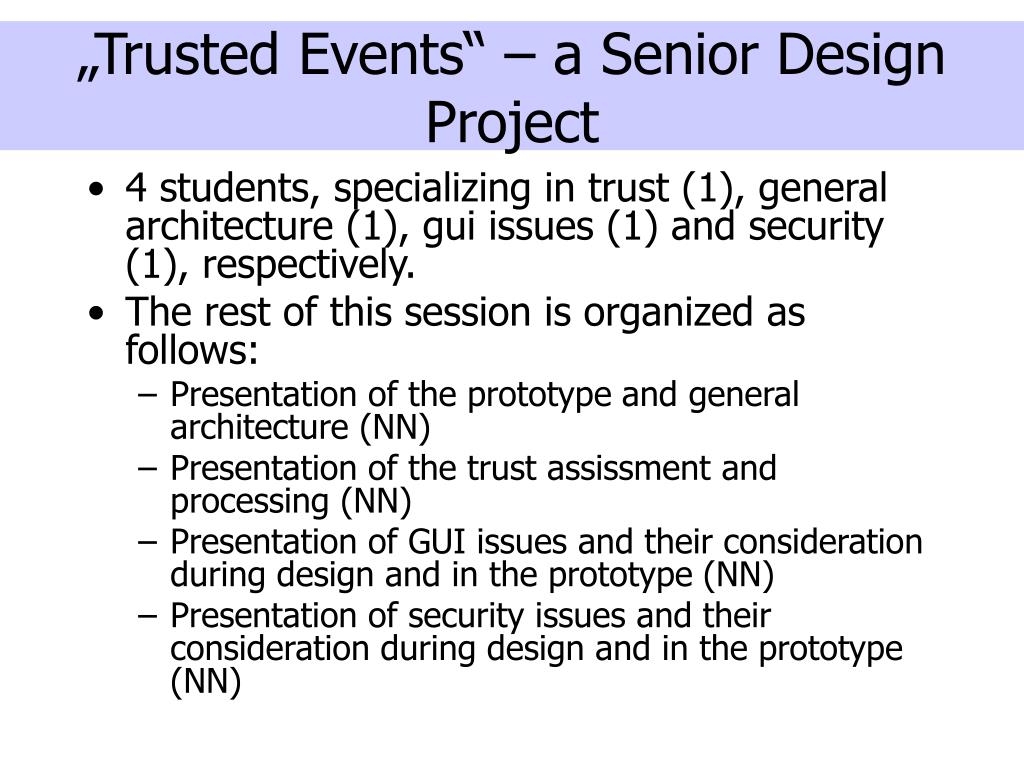 """Trusted Events"" – a Senior Design Project"