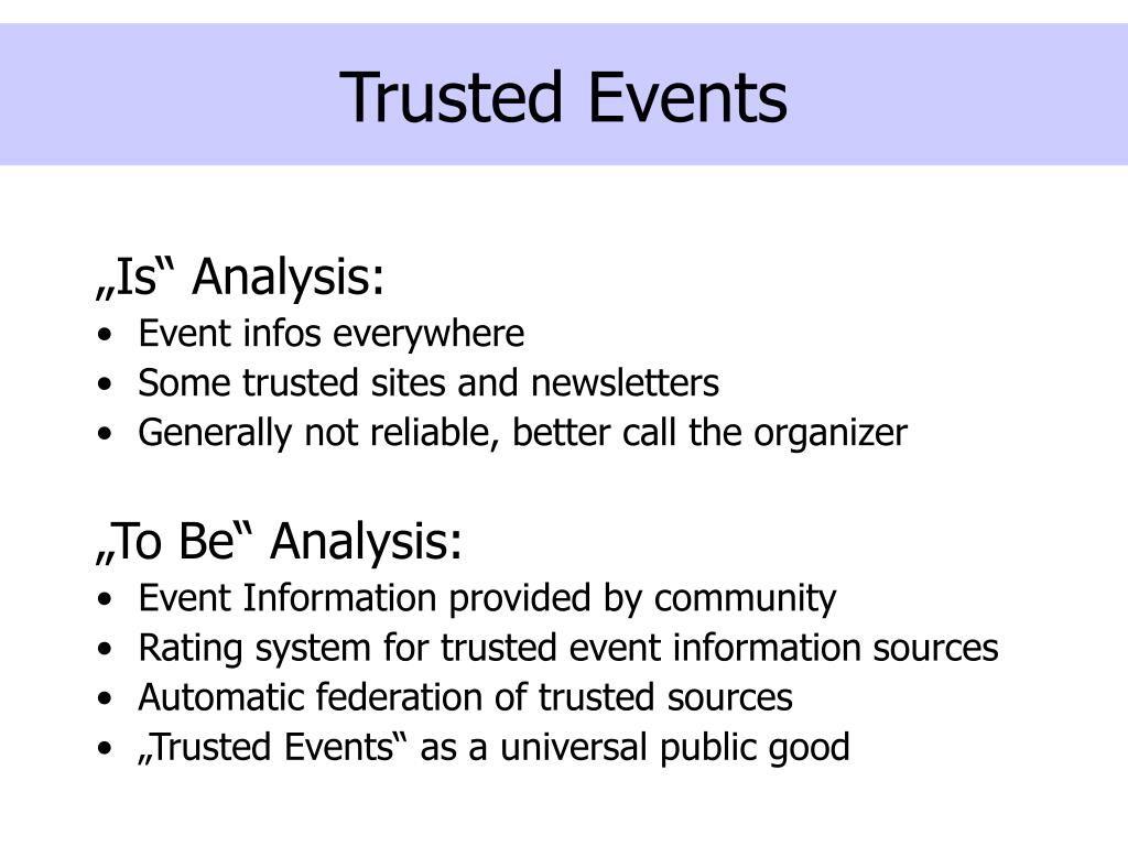 Trusted Events