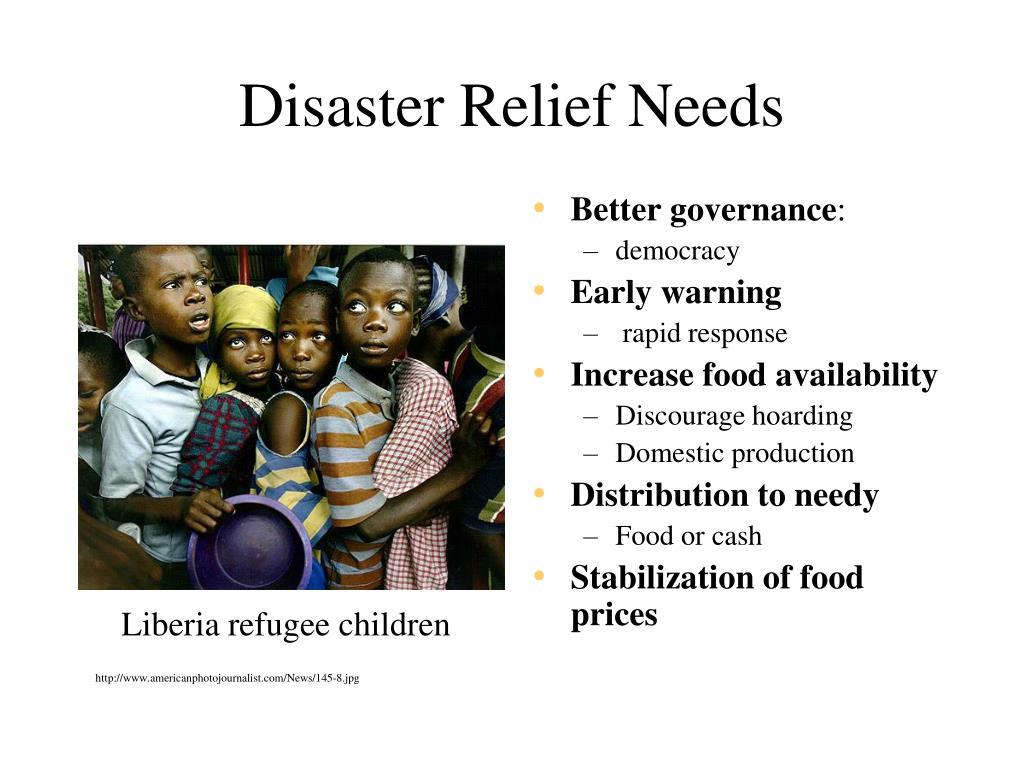 Disaster Relief Needs