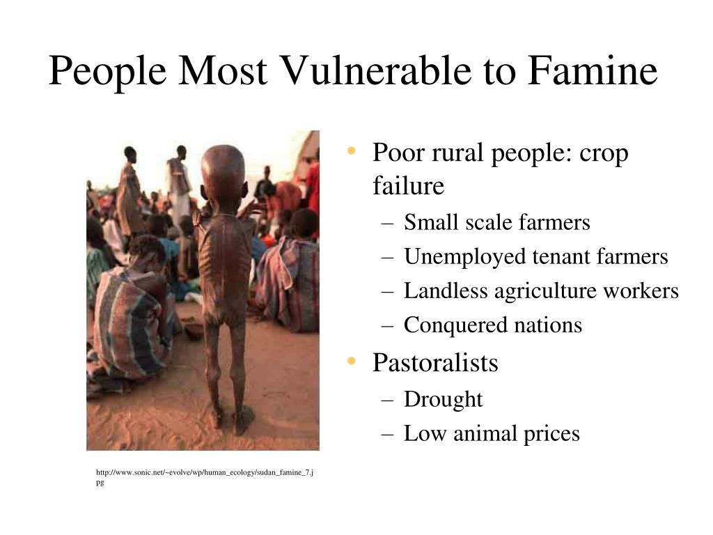 People Most Vulnerable to Famine
