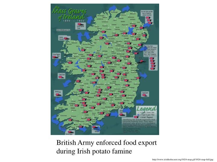 British Army enforced food export during Irish potato famine