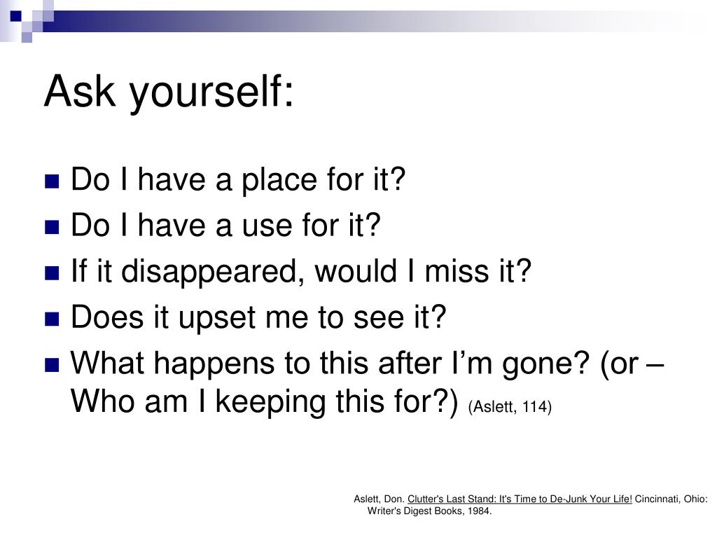 Ask yourself: