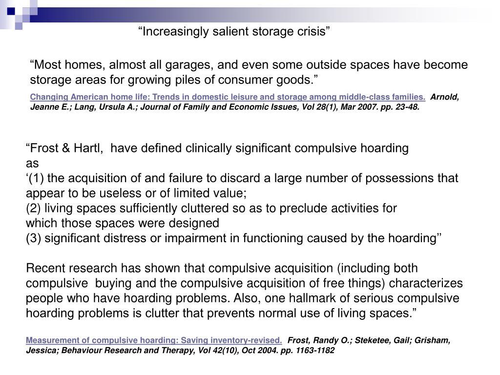 """Increasingly salient storage crisis"""