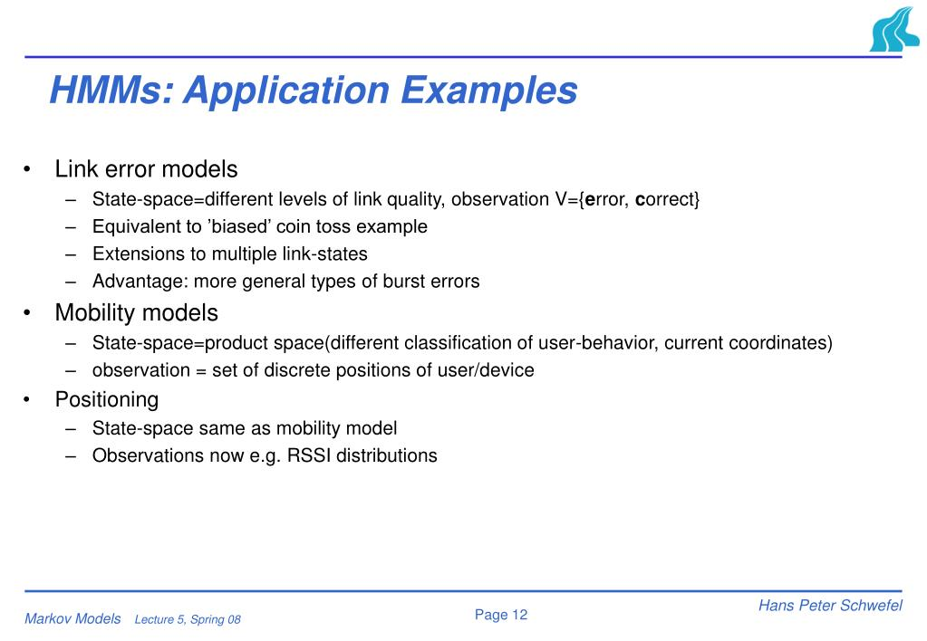 HMMs: Application Examples