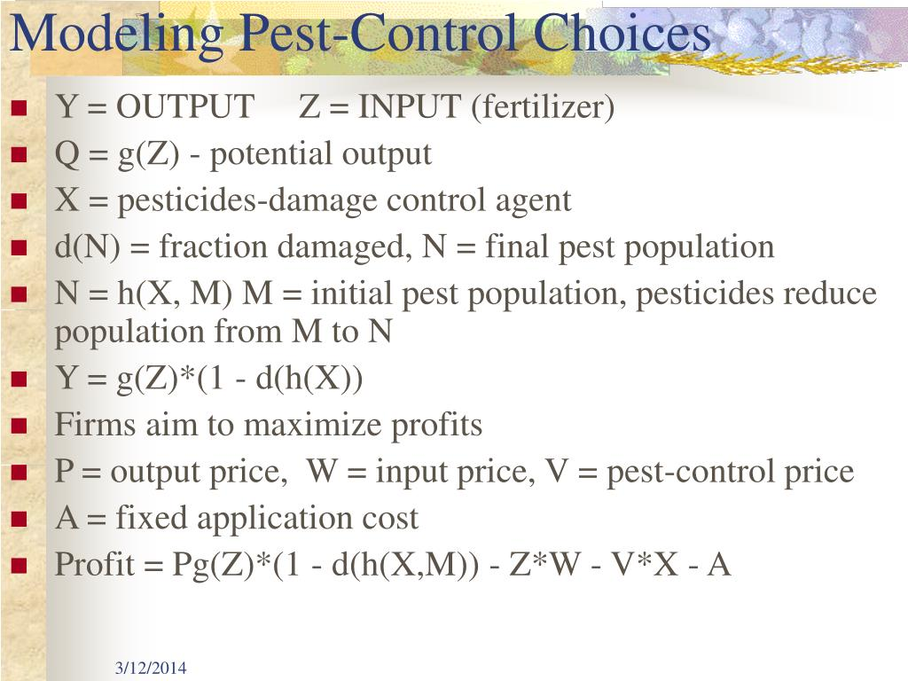 Modeling Pest-Control Choices