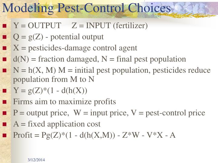Modeling pest control choices