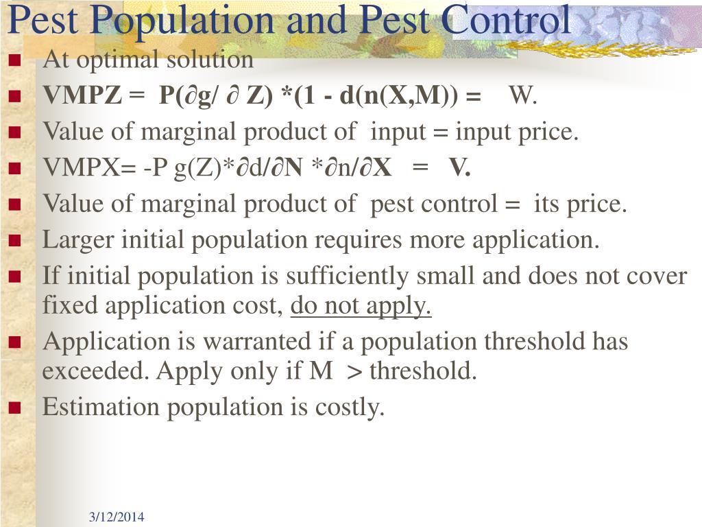 Pest Population and Pest Control