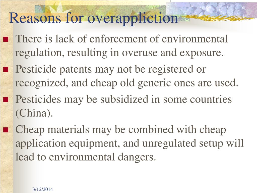 Reasons for overappliction
