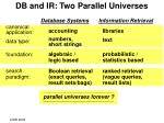 db and ir two parallel universes