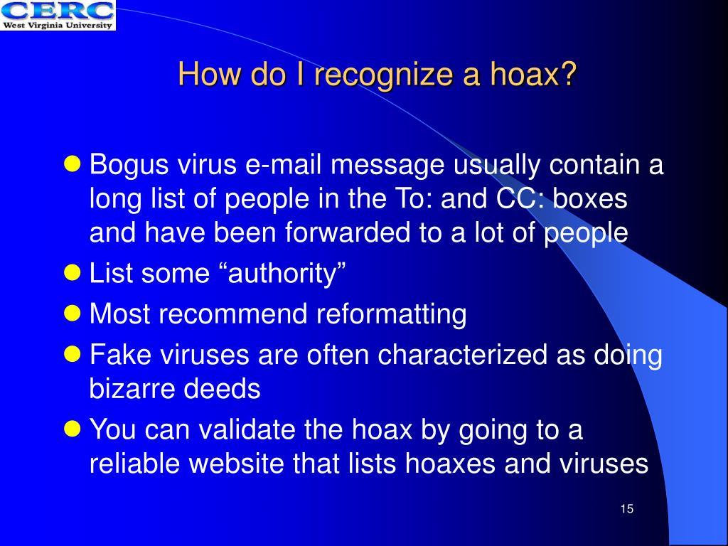 How do I recognize a hoax?