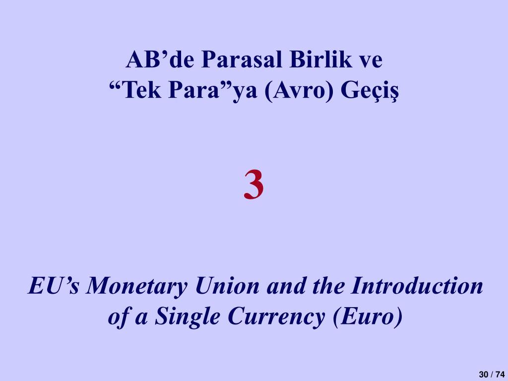 AB'de Parasal Birlik ve