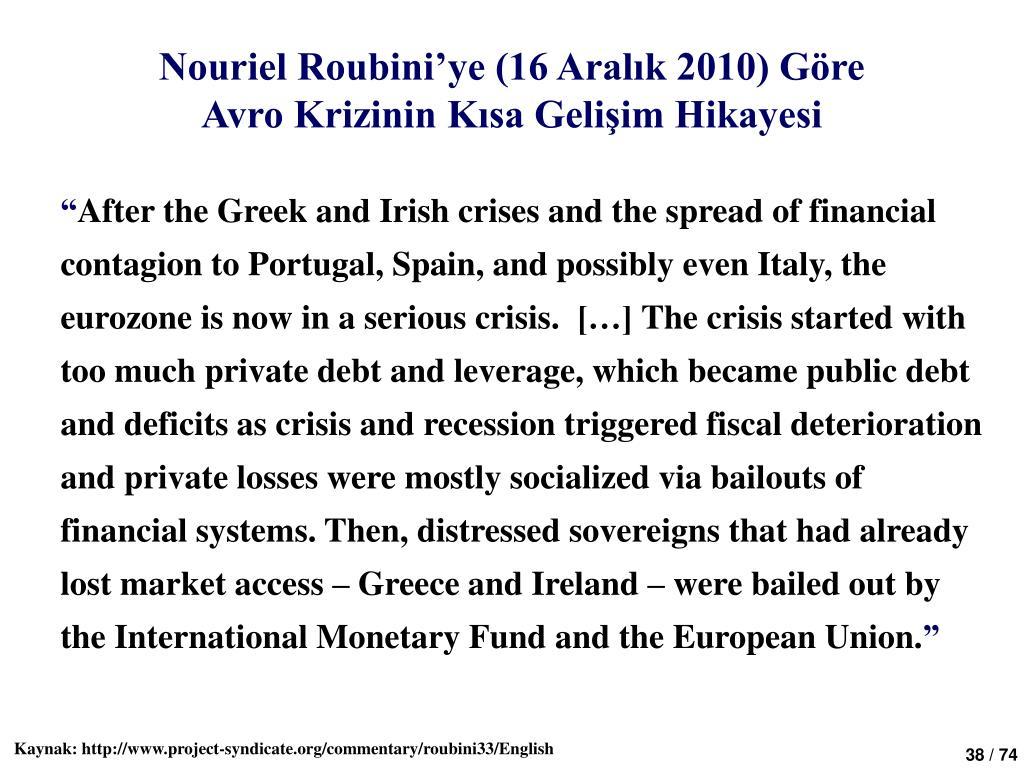 Nouriel Roubini'ye (16 Aralık 2010) Göre