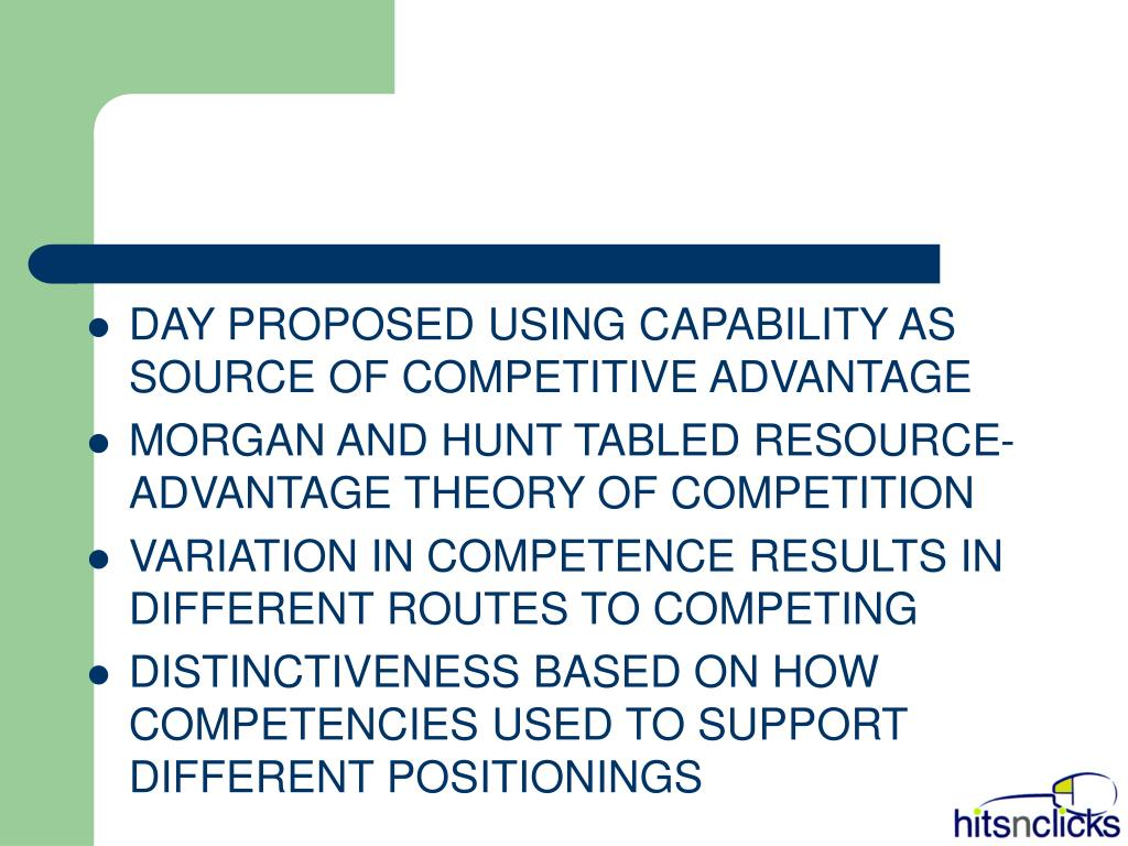 DAY PROPOSED USING CAPABILITY AS SOURCE OF COMPETITIVE ADVANTAGE