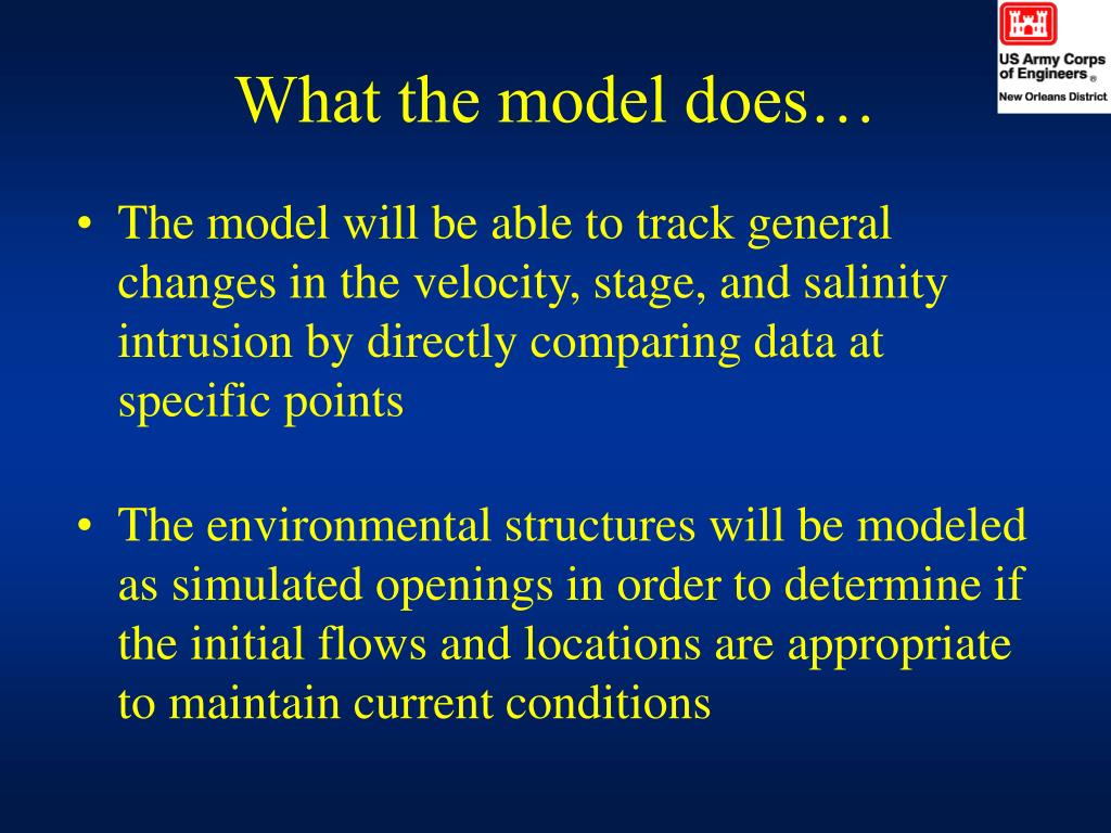 What the model does…