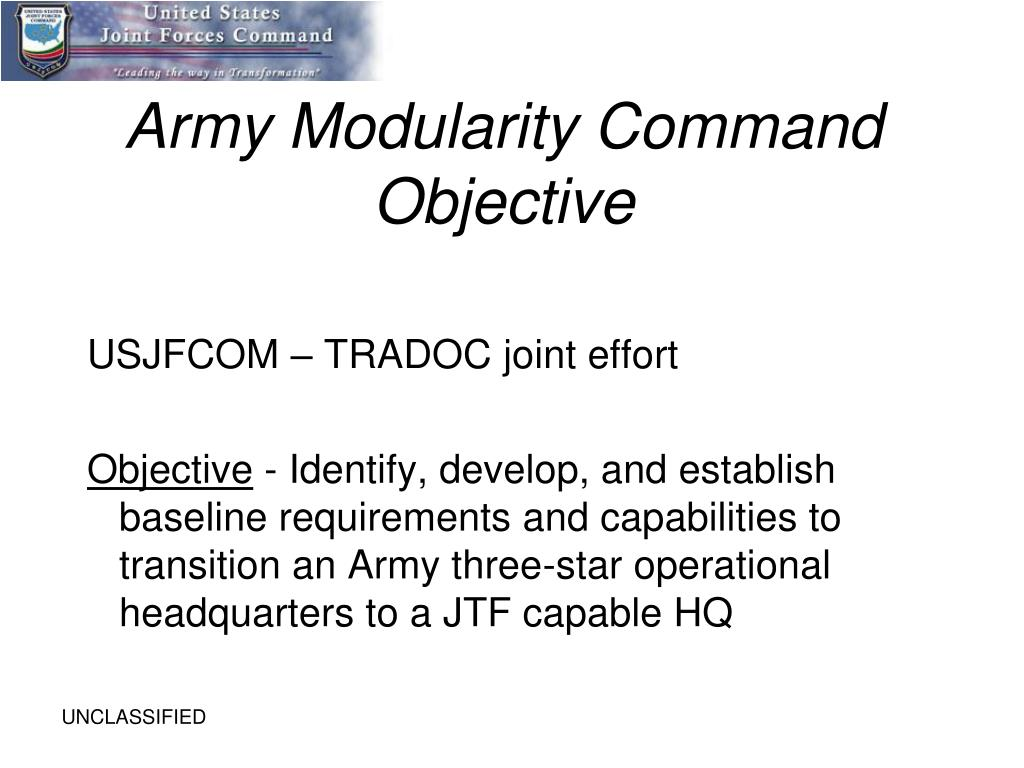 Army Modularity Command Objective