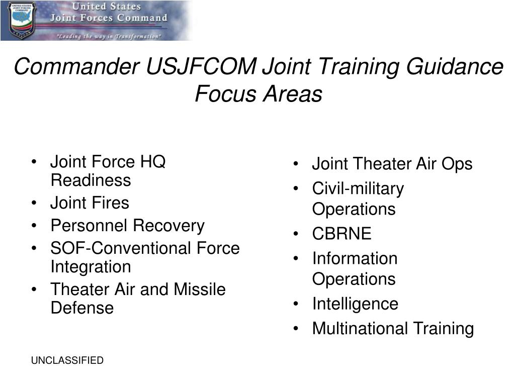 Commander USJFCOM Joint Training Guidance