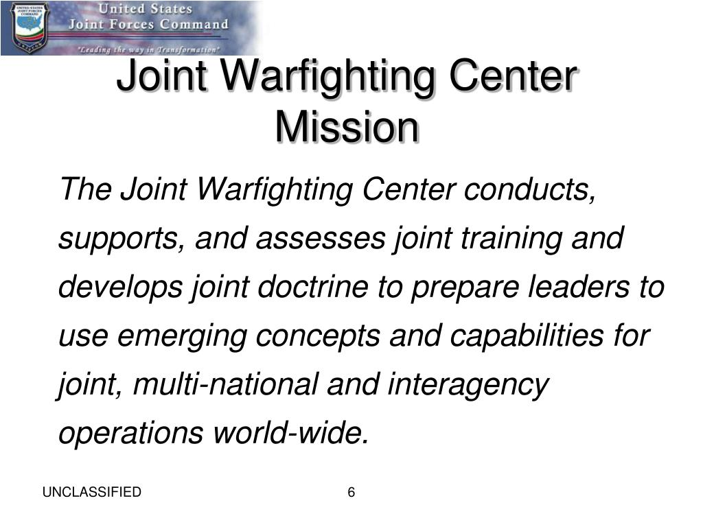 Joint Warfighting Center Mission