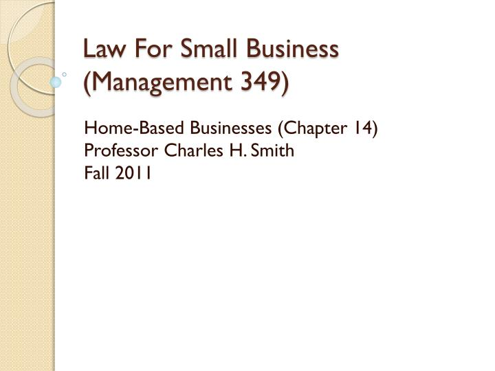 Law for small business management 349