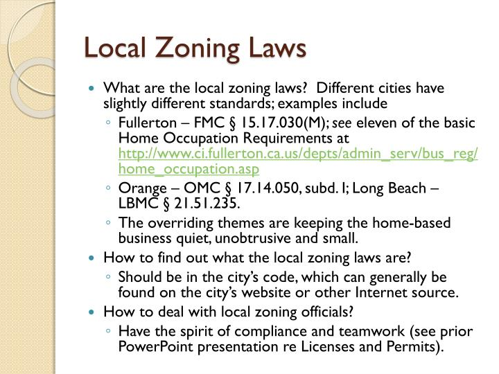 Local zoning laws